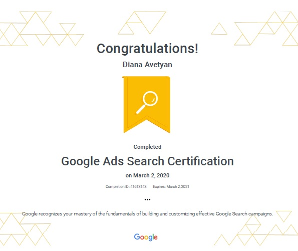 Google Ads Search Certification_exp March 2, 2021