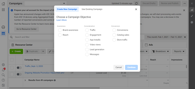 Choose Ad objective